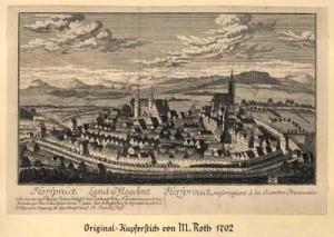 Hersbruck in einem Kupferstich von M. Roth von 1702