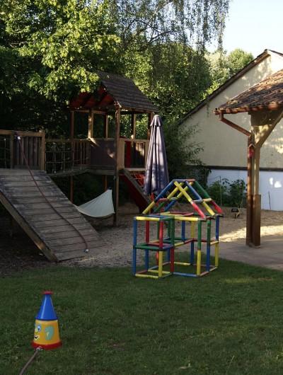 Der Außenspielbereich mit Sandkasten, Klettergerüst und viel Platz zum Spielen liegt hinter der Kita
