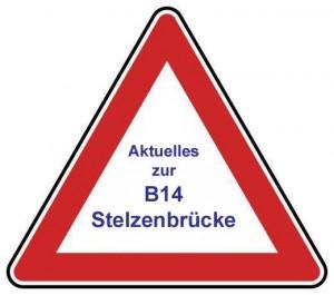B14 Stelzenbrücke Achtungschild
