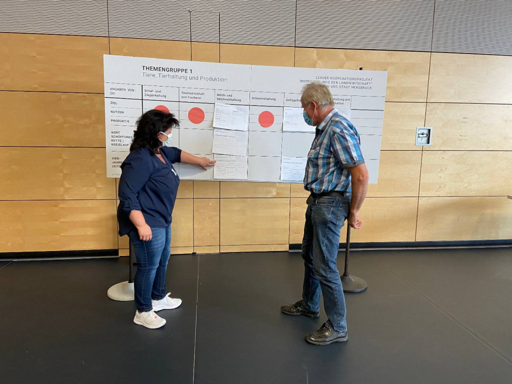 Themenarbeit: Bettina Hechtel, Kreisbäuerin aus Fürth (li.) und Gerhard Walter, Landwirt aus Ellenbach (re.)
